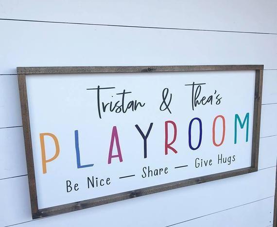 Playroom Wood Sign / Custom Playroom Sign / Kids Name Sign / Playroom Rules Sign / Kids Rules Sign/ Playroom Wall Decor /Farmhouse Kids Sign images