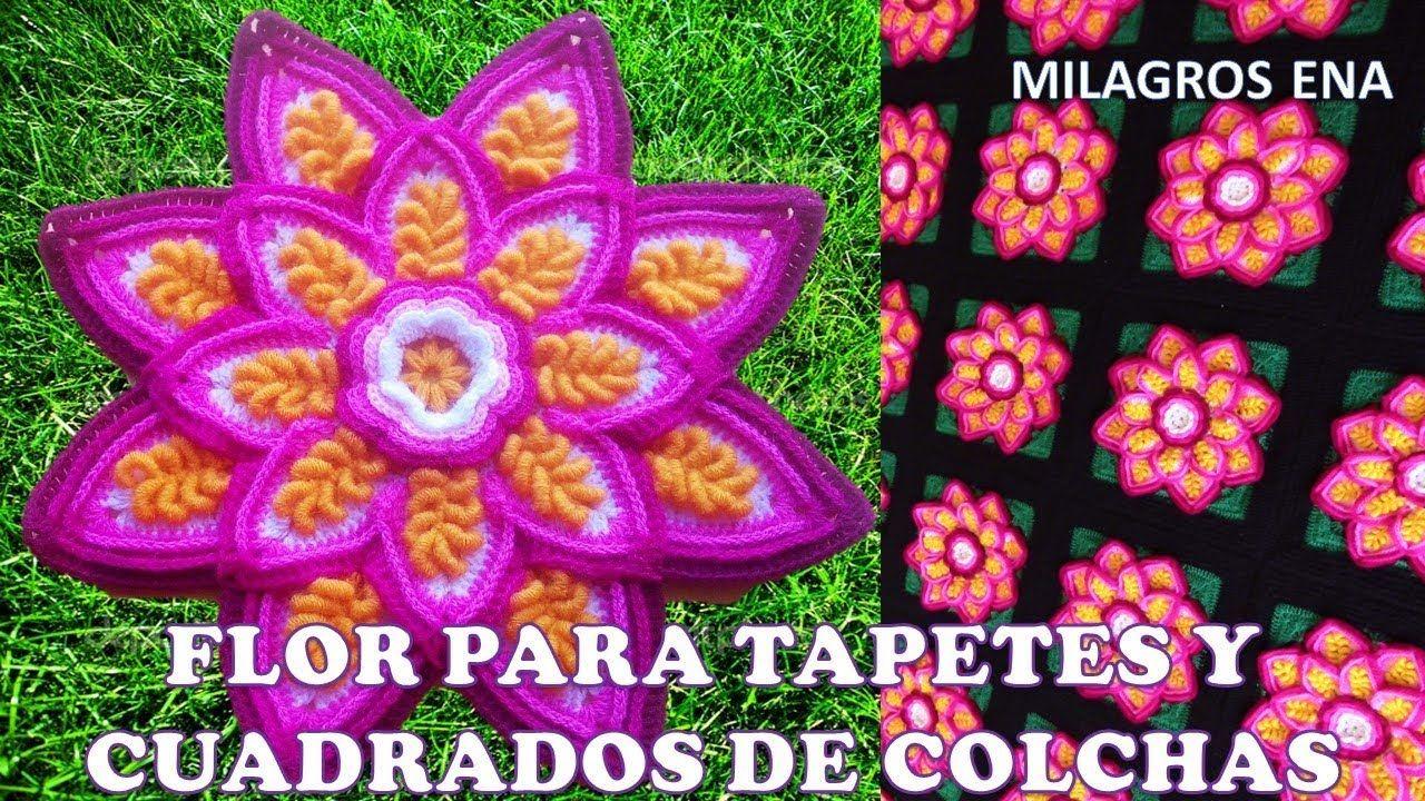 FLOR A CROCHET EN PUNTOS ROCOCO para aplicar en CUADRADOS , TAPETES ...