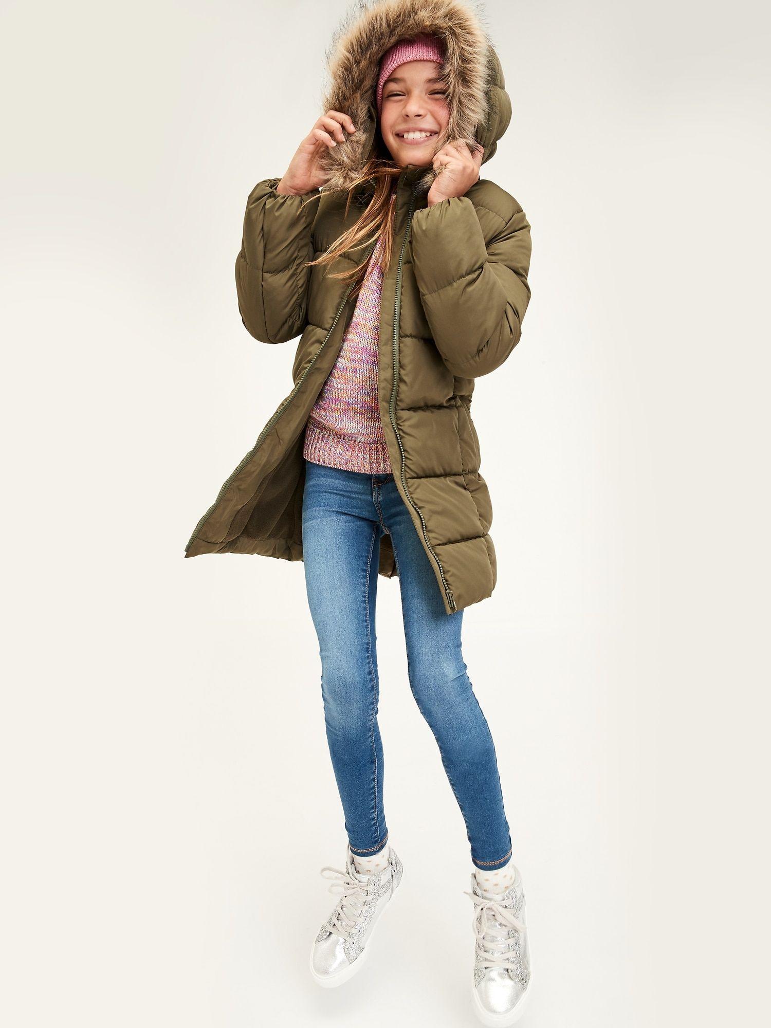 Kids Longline Hooded Puffer Jacket Gap Factory Denim Women Girls Shopping Fashion [ 2000 x 1500 Pixel ]