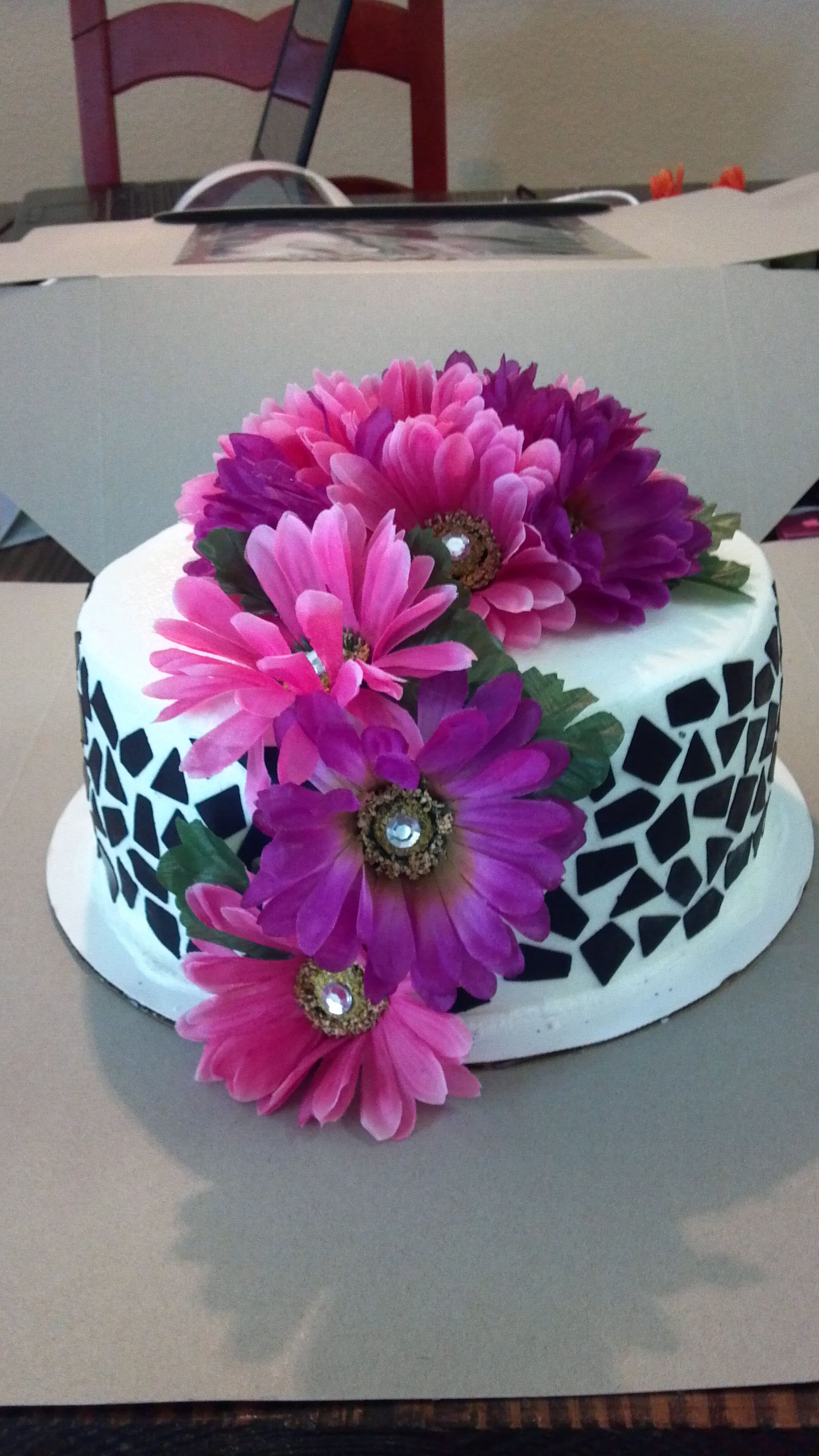 birthday cake for 17 year old. pink and purple layered cake