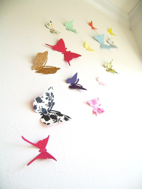 15 3D Butterfly Wall Art, Butterfly Silhouettes for girl ...