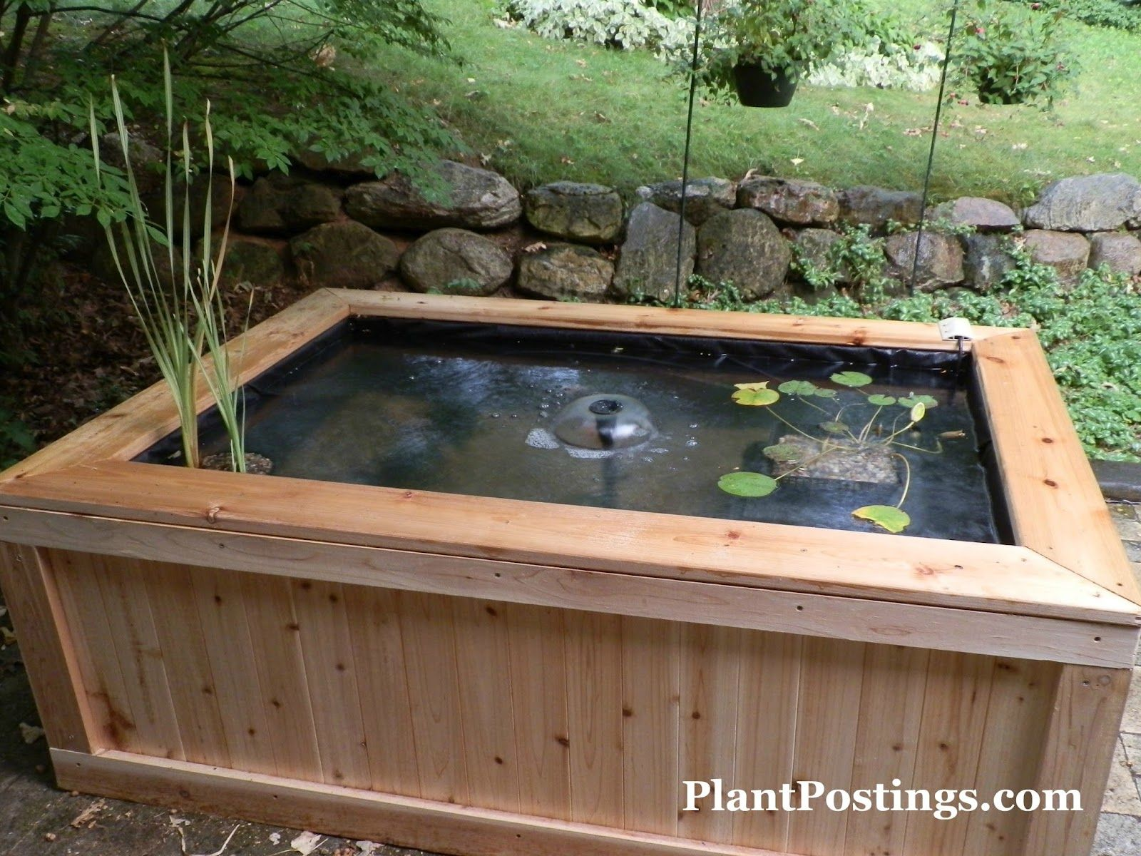 Small above ground fish pond design backyard living for Wooden koi pond construction