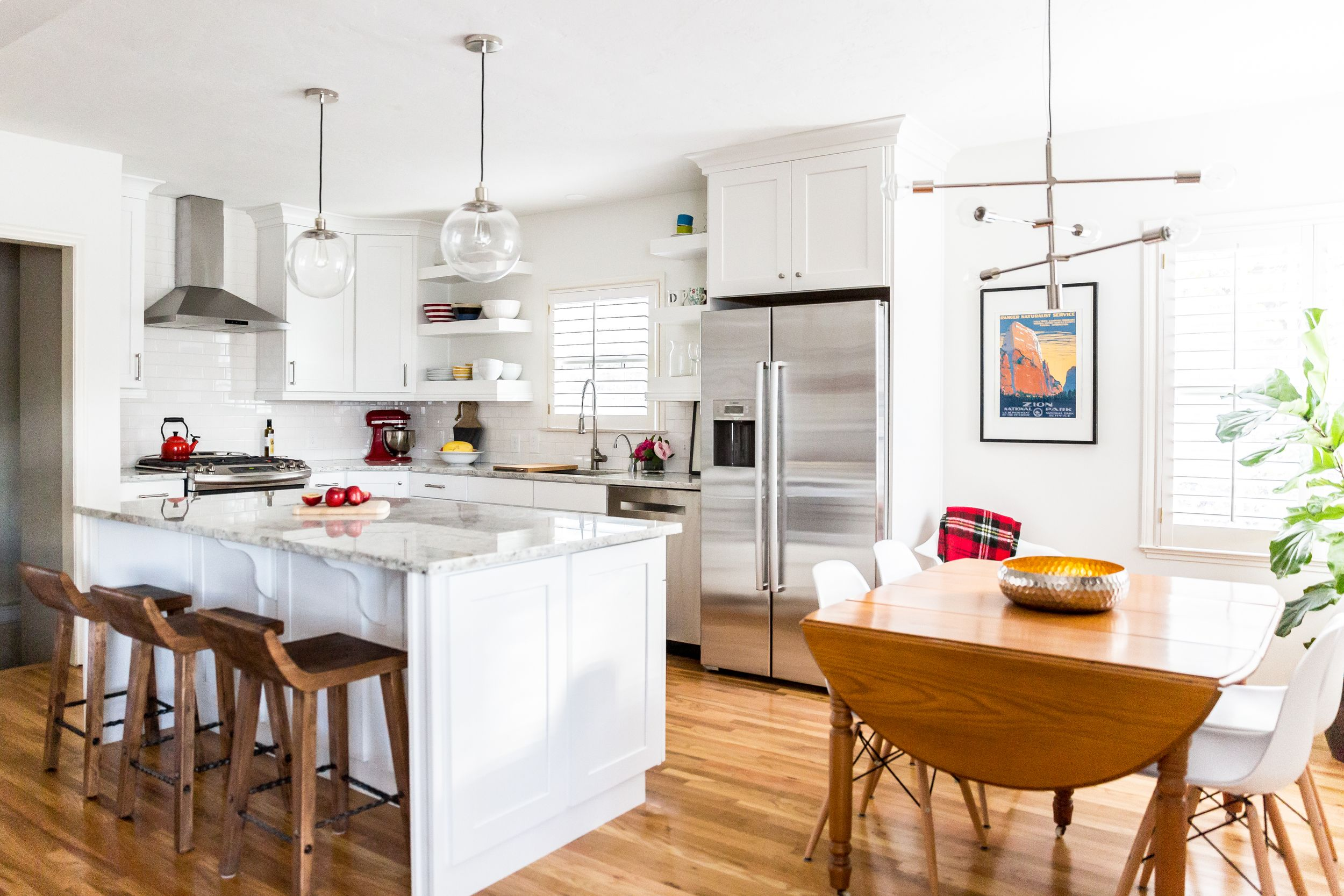 White kitchen remodel with mid century modern detail | k i t c h e n ...