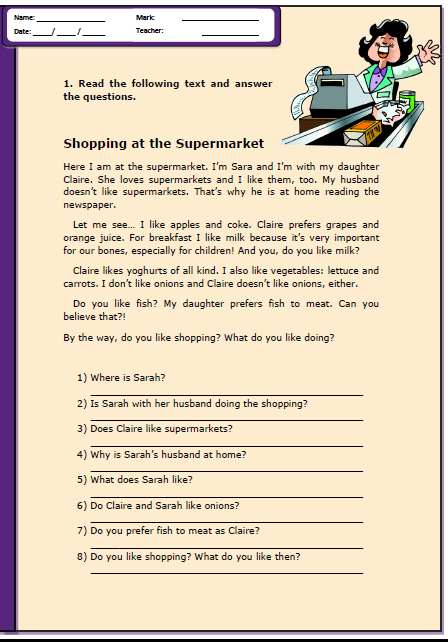 Shopping at the Supermarket Reading Comprehension Worksheet | m ...