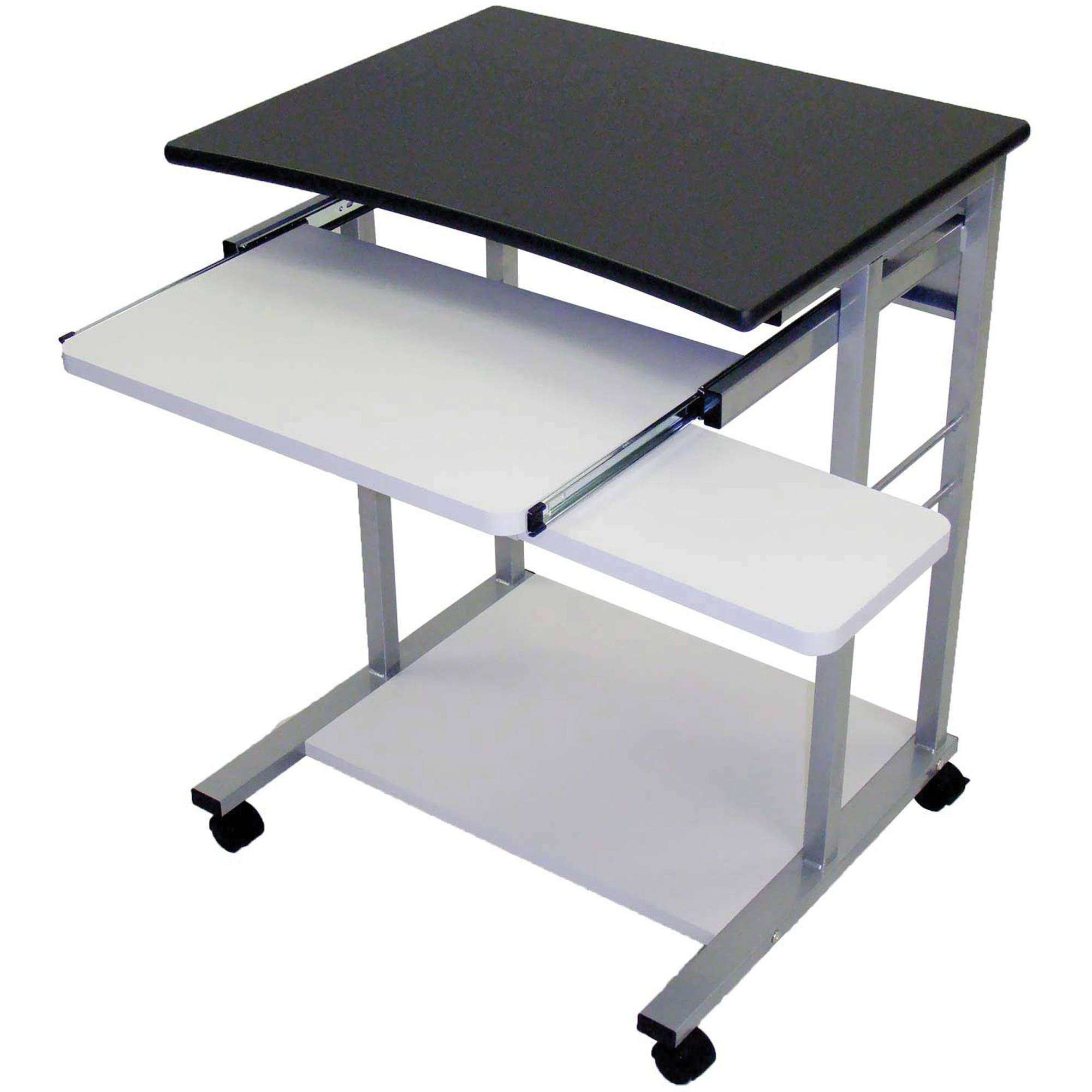 Offex Mobile Computer Desk Workstation With Pullout Keyboard Tray Charcoal