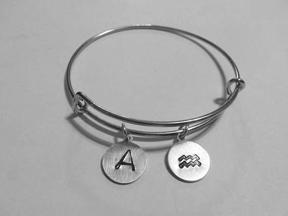 Zodiac Sign Initial Bangle Bracelet Silver Initial Bracelet