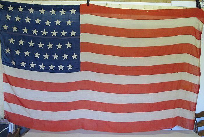 Antique Us American 45 Sewn Stars Stripes Historical Garrison Flag 1896 1908 Yqz Ebay Antiques Historical