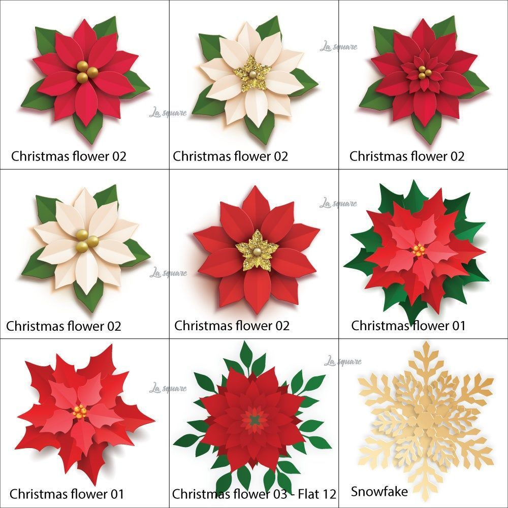Photo of Christmas paper flowers template, Paper Poinsettia Flowers Templates, Christmas SVG cut files, Christmas and Holiday decor, Instant Download