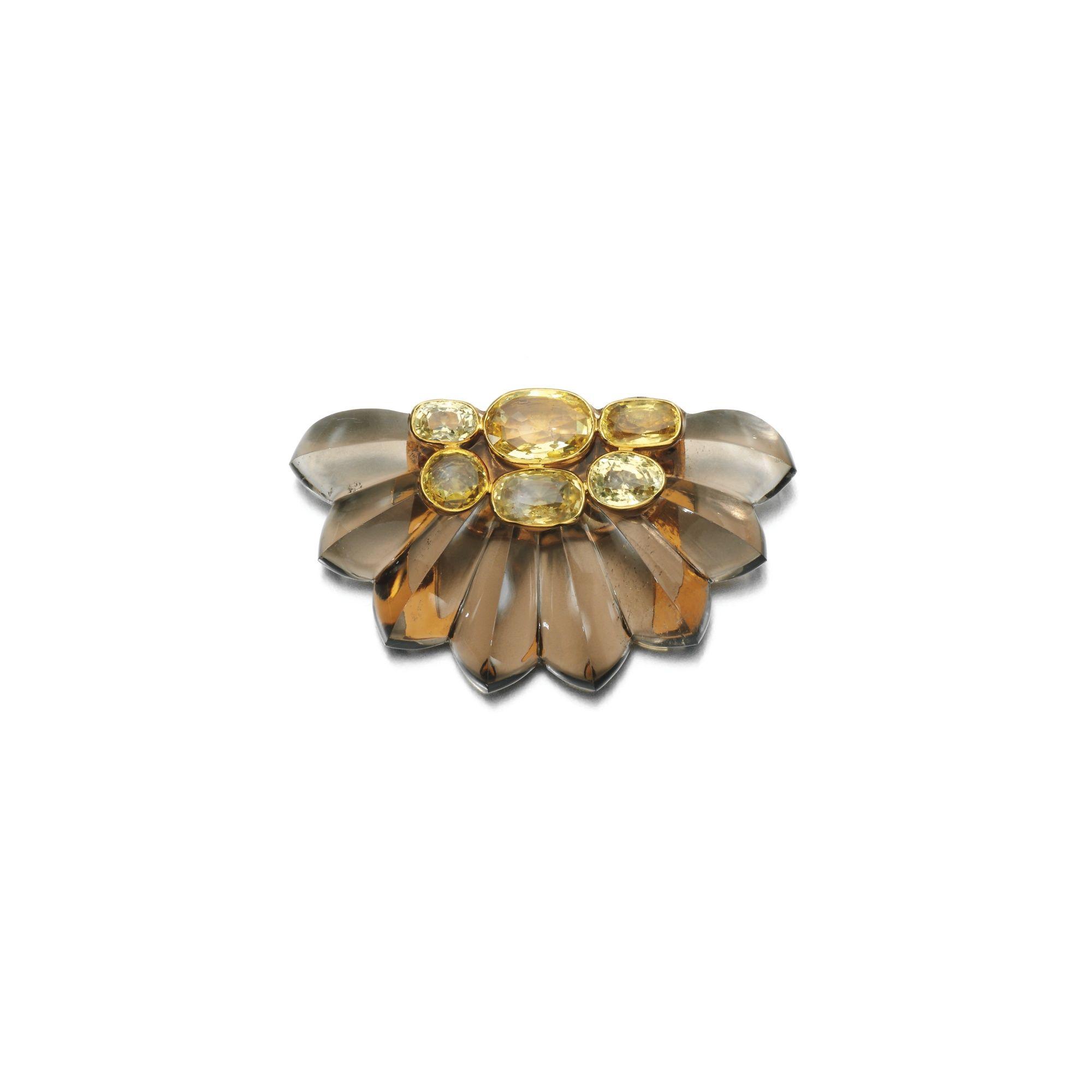 -Smoky quartz, yellow sapphire and citrine brooch, Suzanne Belperron, circa 1935