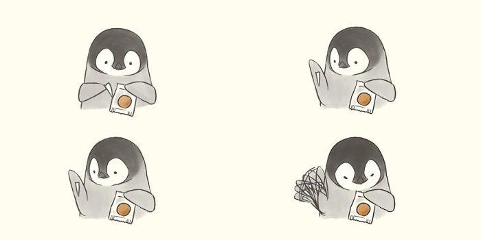 ペンギンの親子の日常の様子を描いたイラストに注目が集まってい