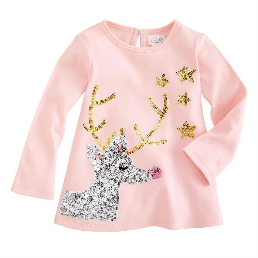 Mud Pie Kids Girls Christmas Sparkle Pink Reindeer Cardigan Sweater