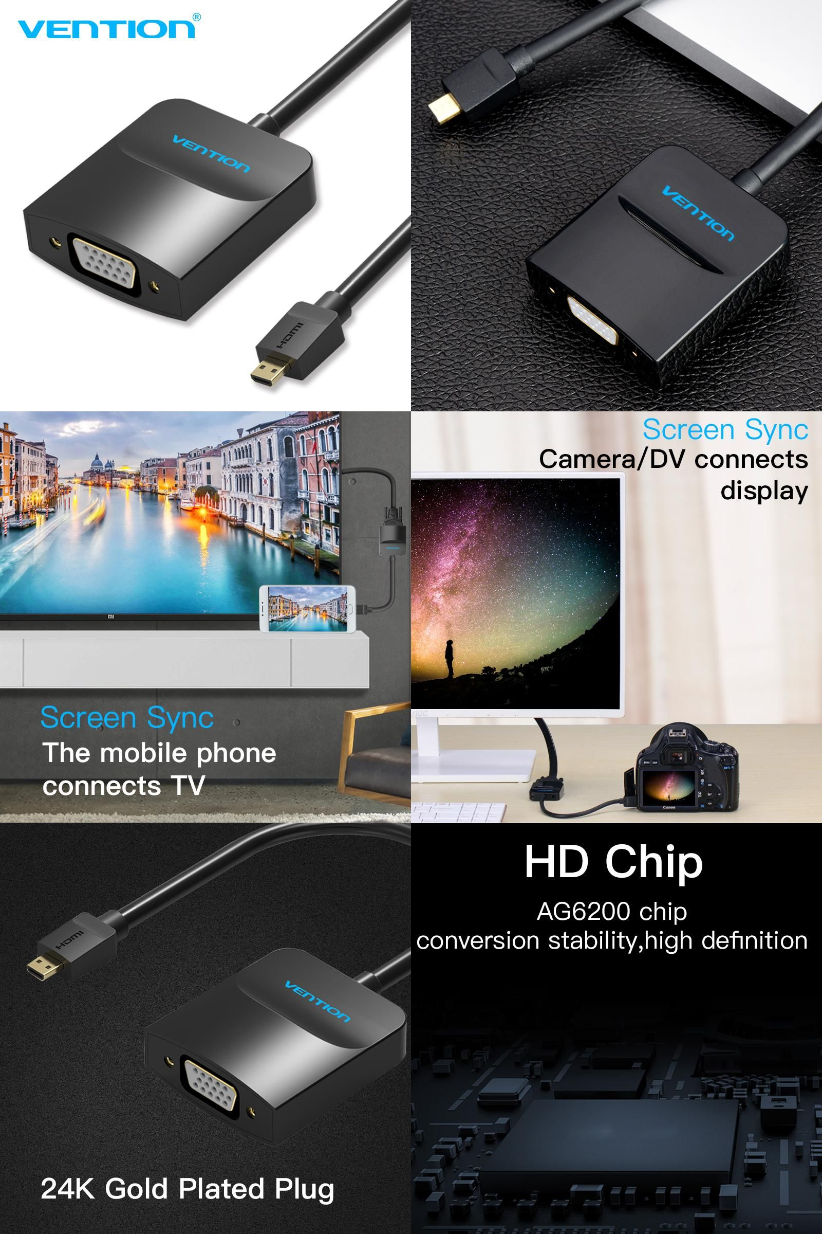 [Visit to Buy] Vention Micro HDMI to VGA Cable Male to