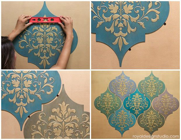 Charming DIY Tutorial That You Can Do Yourself! How To Hang Stenciled Wall Art Wood  Shapes For Wall Decor From Royal Design Studio