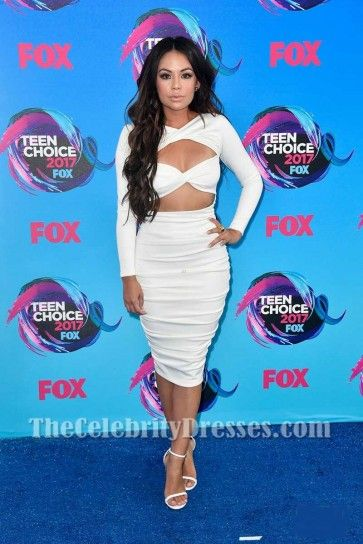 f372989ff28 Janel Parrish White Sexy Cut Out Bodycon Cocktail Dress With Long Sleeves  2017 Teen Choice Awards