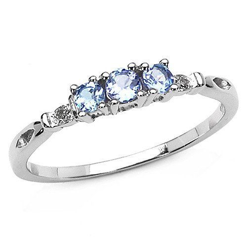 White Gold 24CT Tanzanite Blue White Diamond Engagement Wedding
