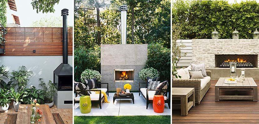 una chimenea en la terraza o jardn