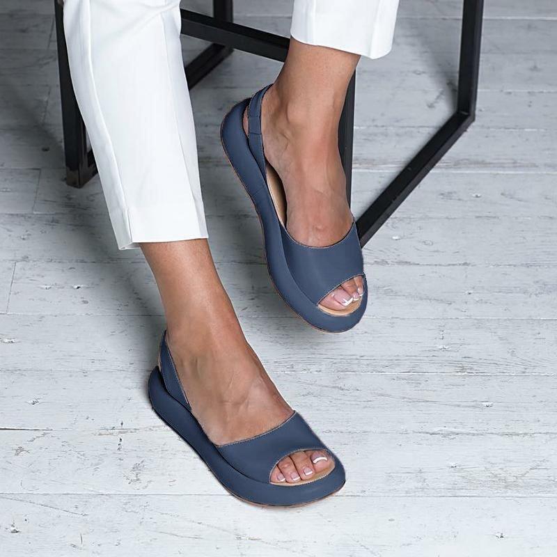 Shop Shoes Noracora Shoes Casual Blue Peep Toe Shoes Online