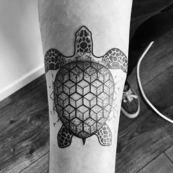 Sea turtle with geometric shell by Deborah Genchi
