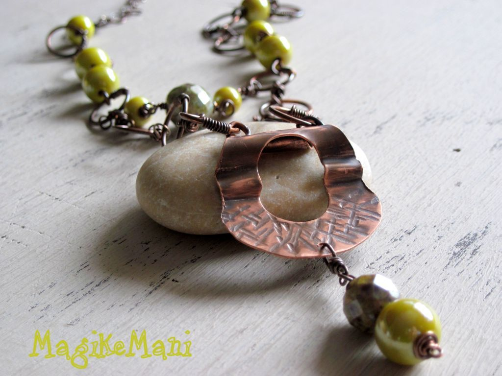 lime necklace - copper, ceramic
