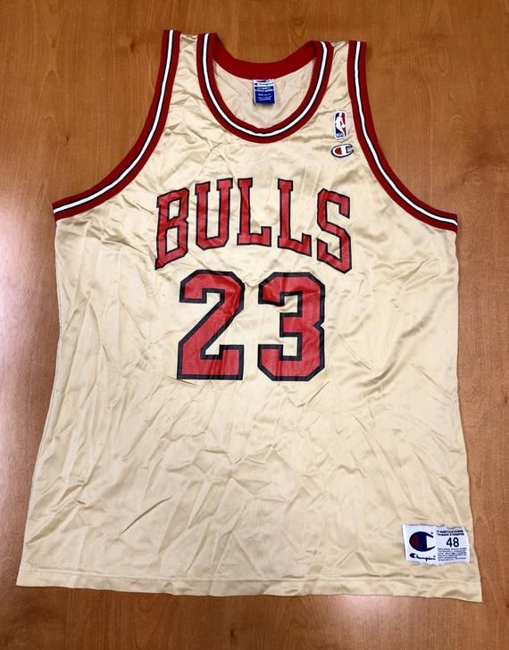 timeless design f4433 f43d5 Vintage 1998 Michael Jordan Chicago Bulls Champion Gold Jersey Size 48 nba  finals hat shirt scottie