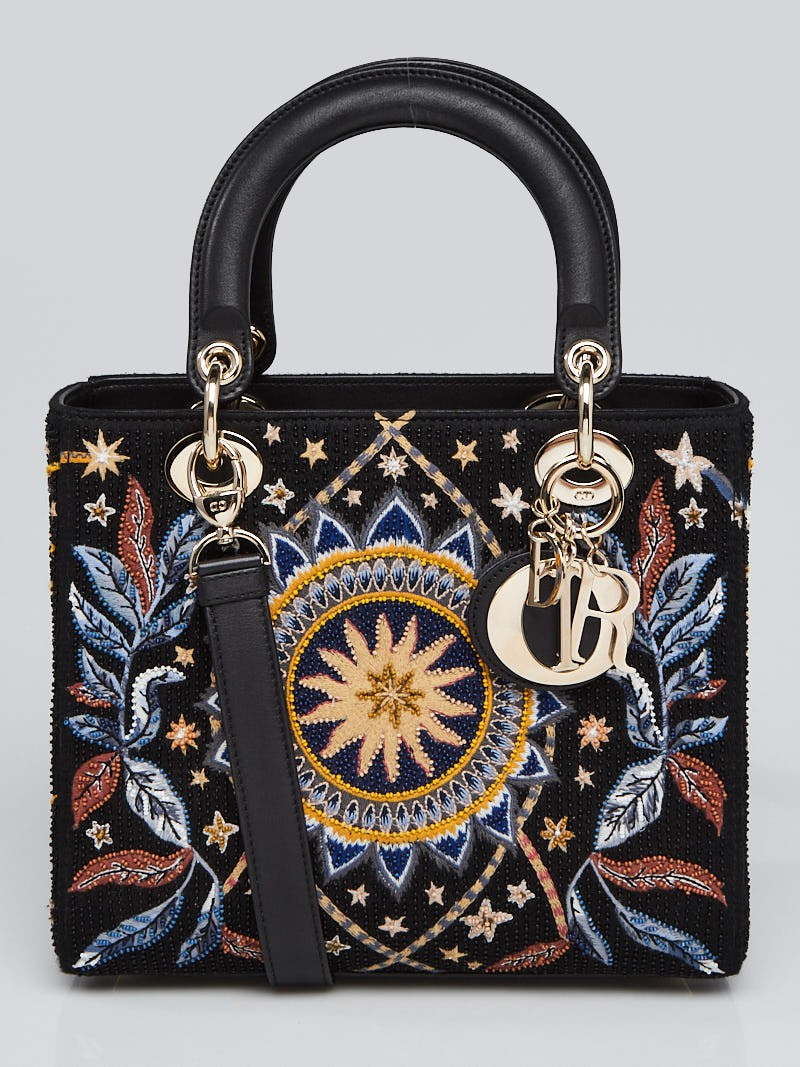 Christian Dior Black Leather Air Embroidered and Beaded Medium Lady Dior Bag
