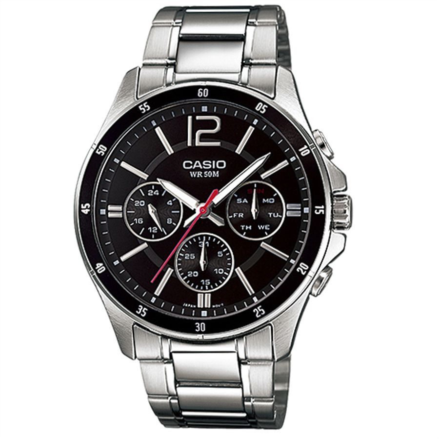 Casio For Men Black Dial Stainless Steel Band Watch Mtp 1374d 1a Analog Japanese Quartz Watches For Men Casio Watch Mens Watches Online