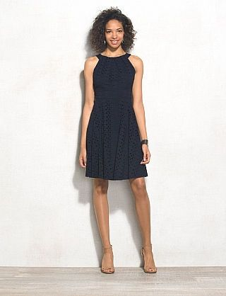 Eyelet Halter Fit And Flare Dress Lol I Have This In Mint Green White