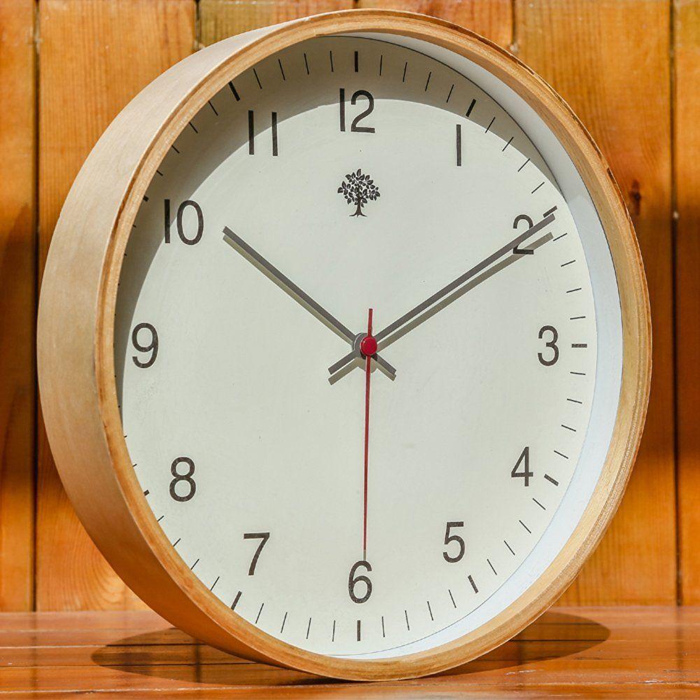 Amazon Com Hippih Silent Wall Clock Wood 12 Inches Non Ticking Digital Quiet Sweep Decorative Vintage Wooden C Wood Wall Clock Wooden Clock Rustic Wall Clocks