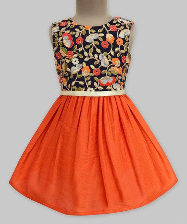 Look at this #zulilyfind! Ditsy Tapestry Orange Embroidered Dress - Infant, Toddler
