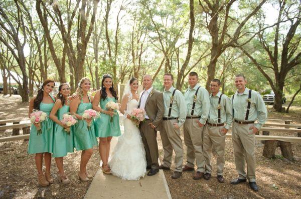 Wedding party aqua mint bridesmaid dresses aqua mint men for Southern country wedding dresses