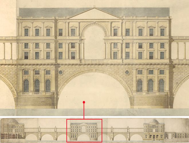 Architectural Drawings Of Bridges design drawing for 'a bridge of magnificence', 1760