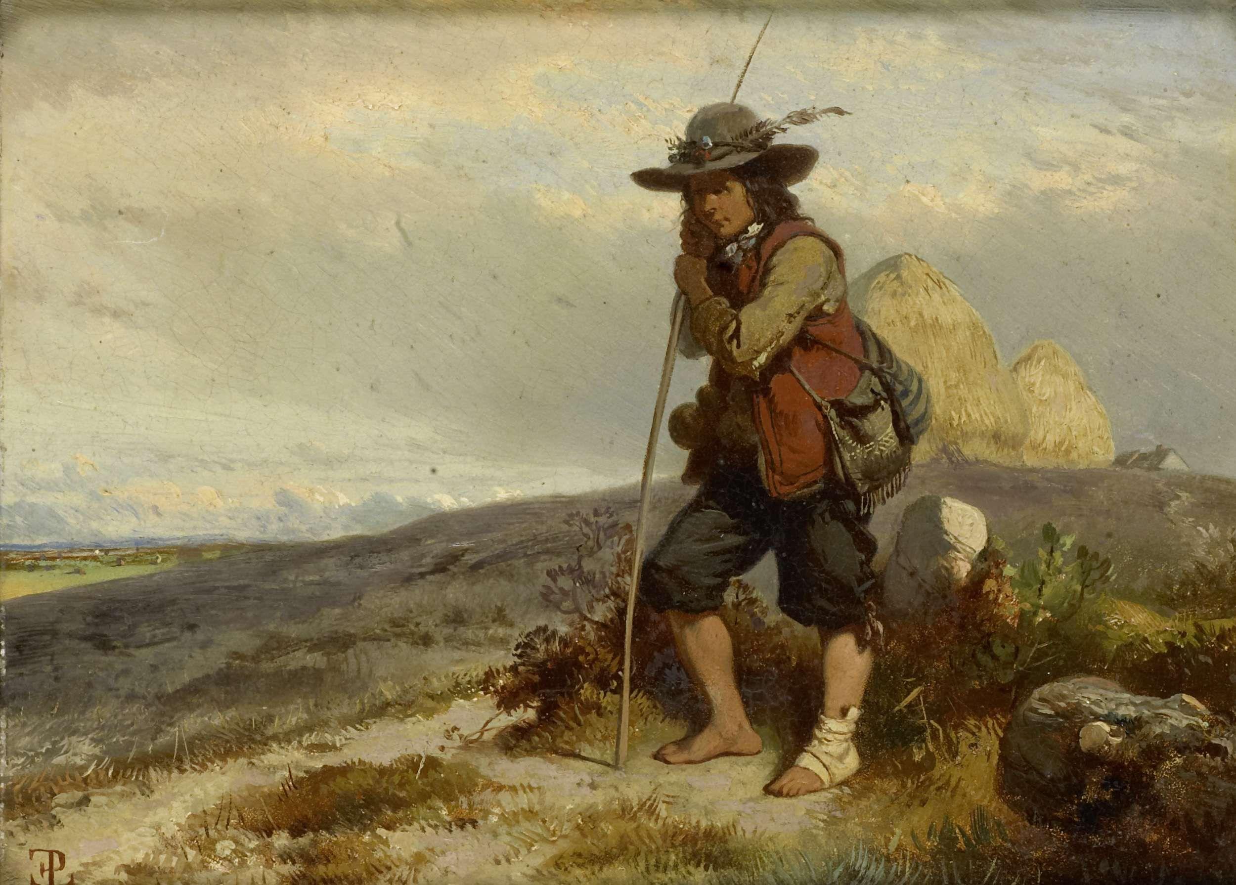 Eugène Modeste Edmond Lepoittevin | Herdersjongen, Eugène Modeste Edmond Lepoittevin, 1840 - 1870 | Een herdersjongen staande op een heuveltop, leunend op zijn staf. Rechts hooibergen en een boerderij.