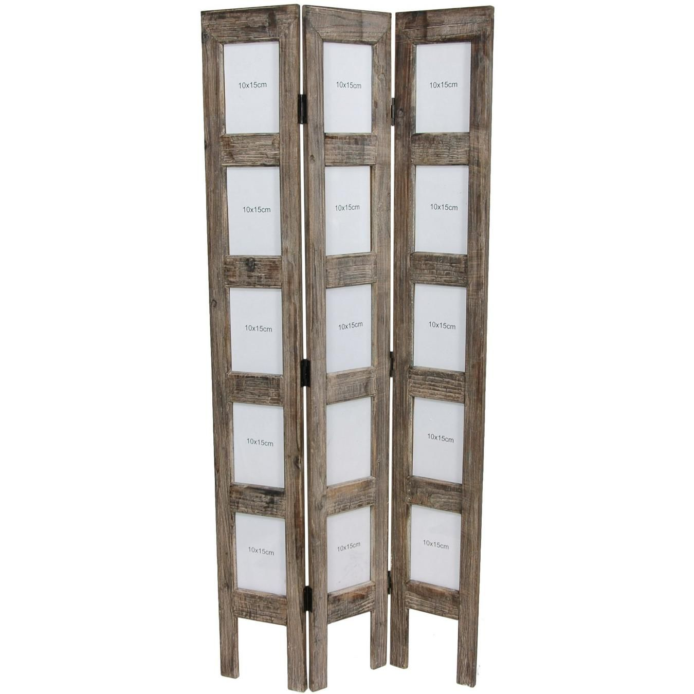 Vintage room divider painted and family pictures display for Painted screens room dividers