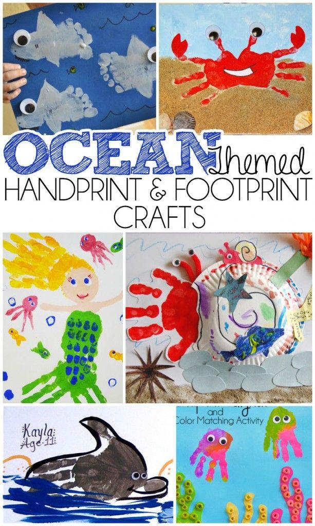 Ocean Themed Handprint And Footprint Crafts Ideas More