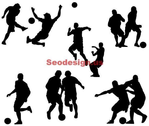 Awesome Black 6 Soccer Players Vector Silhouettes #vector #soccer #silhouettes