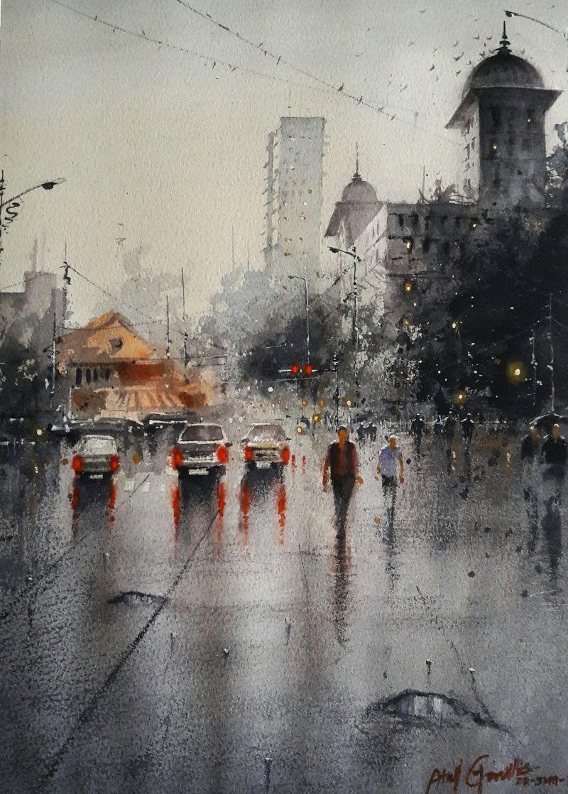 Rainy Season 2 Painting By Atul Gendle Watercolor Paintings