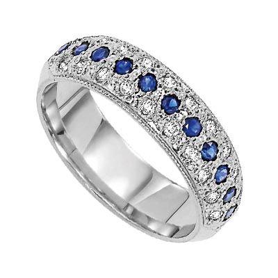 Cobalt Blue Sapphire Diamond Anniversary Band From Lieberfarb