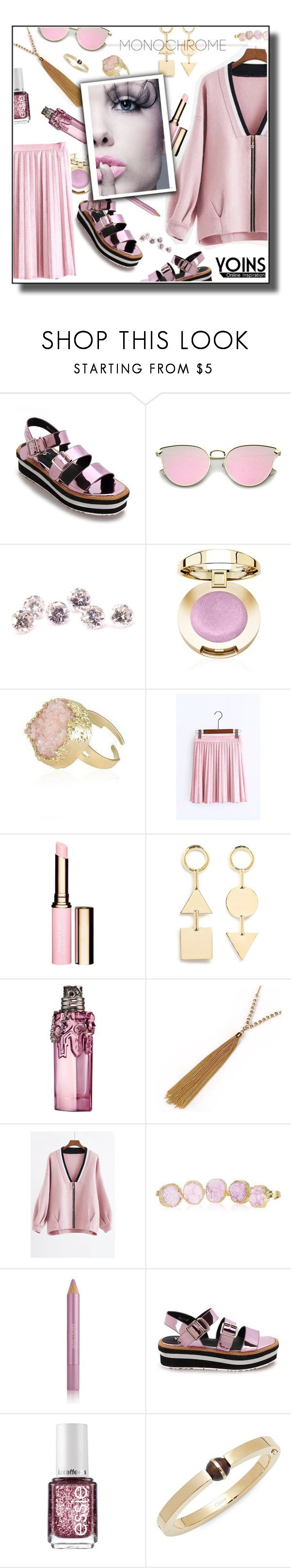 """""""Yoins Pink V-neck Zip Front Closure Knieted Fashion Jacket"""" by tjuli-interior ❤ liked on Polyvore featuring Clarins, Eddie Borgo, Thierry Mugler, Estée Lauder, Essie, Chloé, yoins, yoinscollection and loveyoins"""