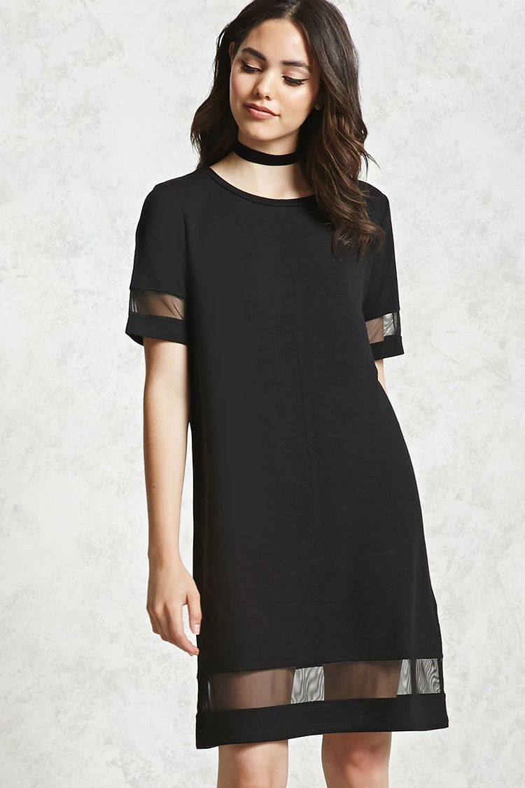 ed89552027 Forever 21 Contemporary - A knit shift dress featuring short sleeves with a  mesh knit cutout near the hem