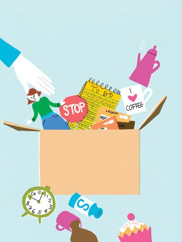 Declutter Your Life  Whenever your house gets overwhelmingly messy, you start tossing and organizing. Why not do the same for your emotional clutter—get rid of all the stuff that's been sapping your energy and bringing you down? Here, seven sanity-saving tips that will help you do just that. Less stress guaranteed!