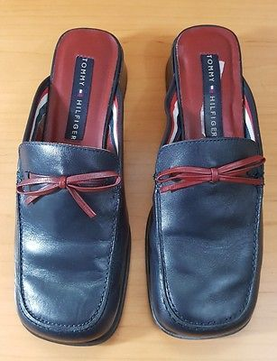 a15164ab6e390c Vintage TOMMY HILFIGER Clogs Blue Red Leather Platform Mule Slip On Heels  Sz 7M