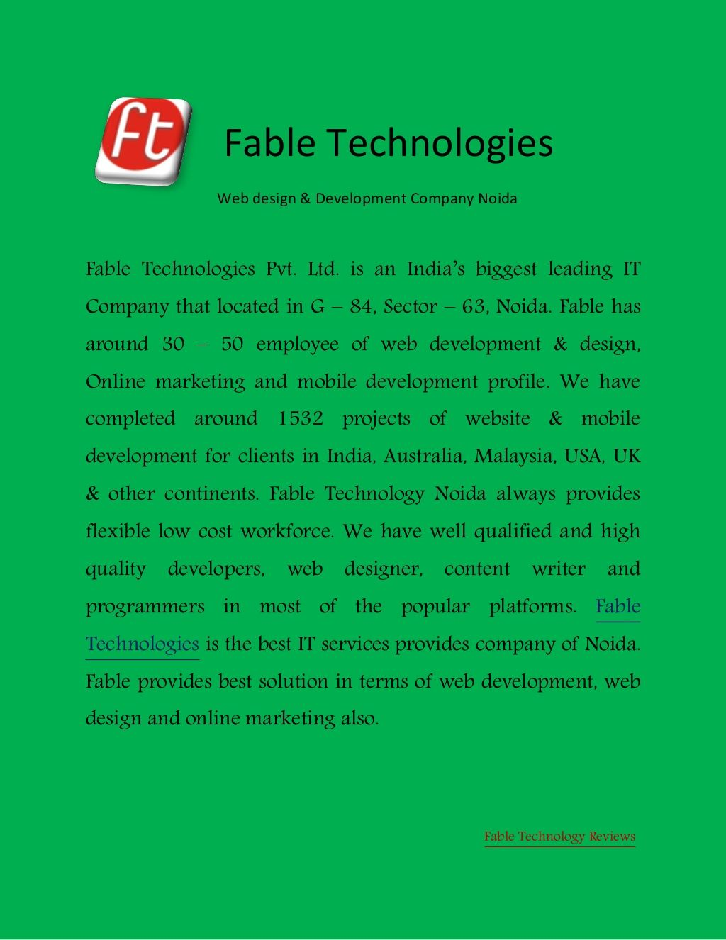 Fable Technologoes Web Development Webdesign Company Noida Sector 63 By Fable Technologies Noida Via Slideshar Web Development Design Technology Fables