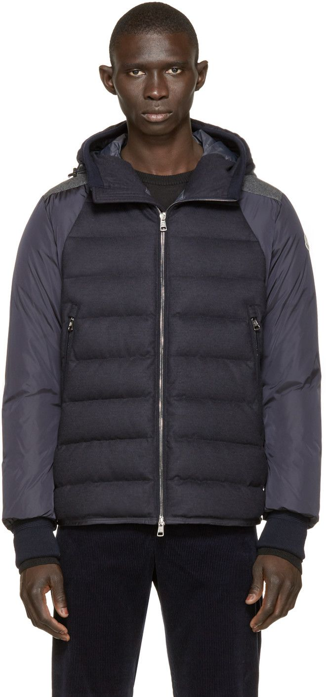 Moncler Navy Quilted Down Augert II Coat | Outerwear mens