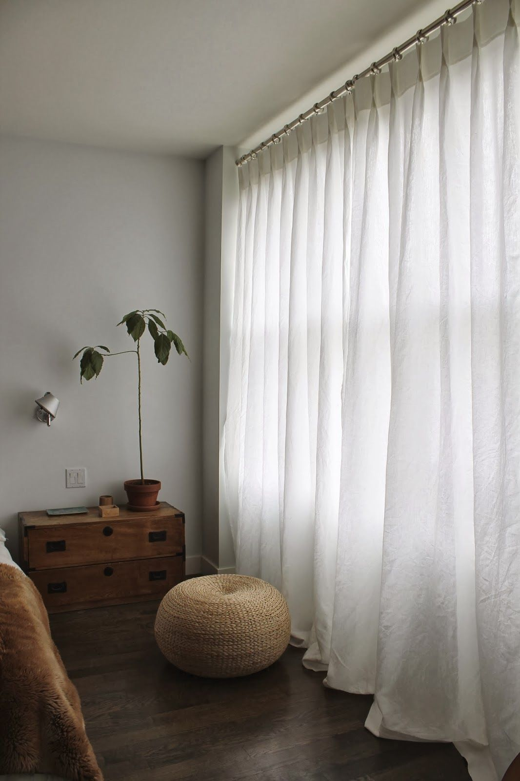 white linen curtains | White curtains bedroom, White linen