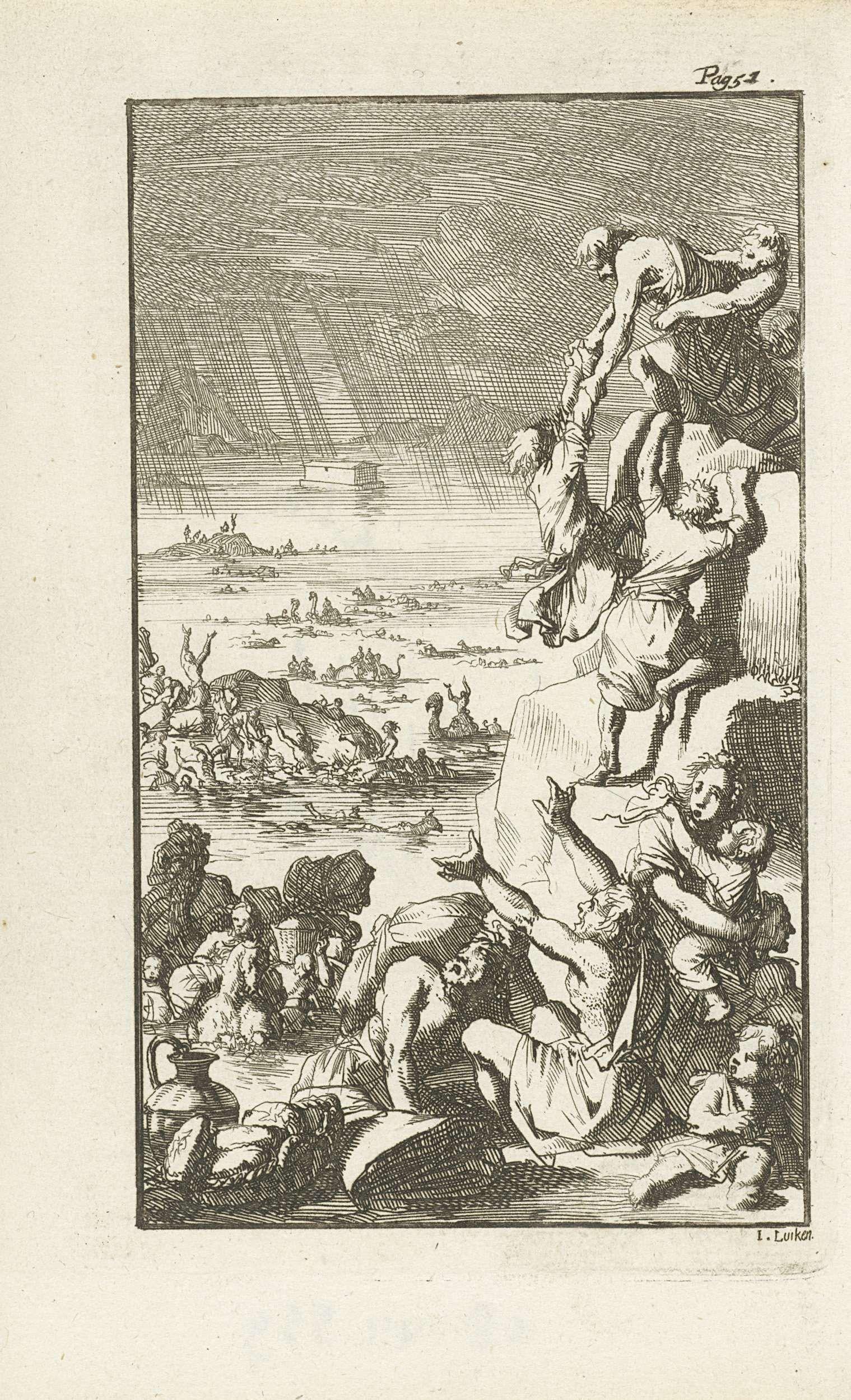 Jan Luyken | De zondvloed, Jan Luyken, weduwe Abraham Honkoop en Zoon (I), Cornelis van Hoogeveen Junior, 1765 | Prent rechtsboven gemerkt: Pag. 51.