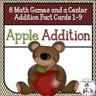 Apple Addition Games includes 45 Addition Fact Cards, 8 Addition Board Games to use with the cards, and a Math Center to record addition sums. $