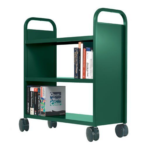 """18""""D x 42""""W x 43""""H 3 Flat Shelf Booktruck - Black by Smith System. $274.99. Smith System's GREENGUARD™ certified Flat Shelf Buffalo Booktrucks feature flat, sturdy shelves and soft dual wheel casters to handle and transport reference books, heavier library items, equipment and more. These book trucks have strong welded construction that can carry 400 lbs. of books and other materials. Choose from a dozen colors and 2 or 3 shelf configurations to add some adaptable, mobil..."""