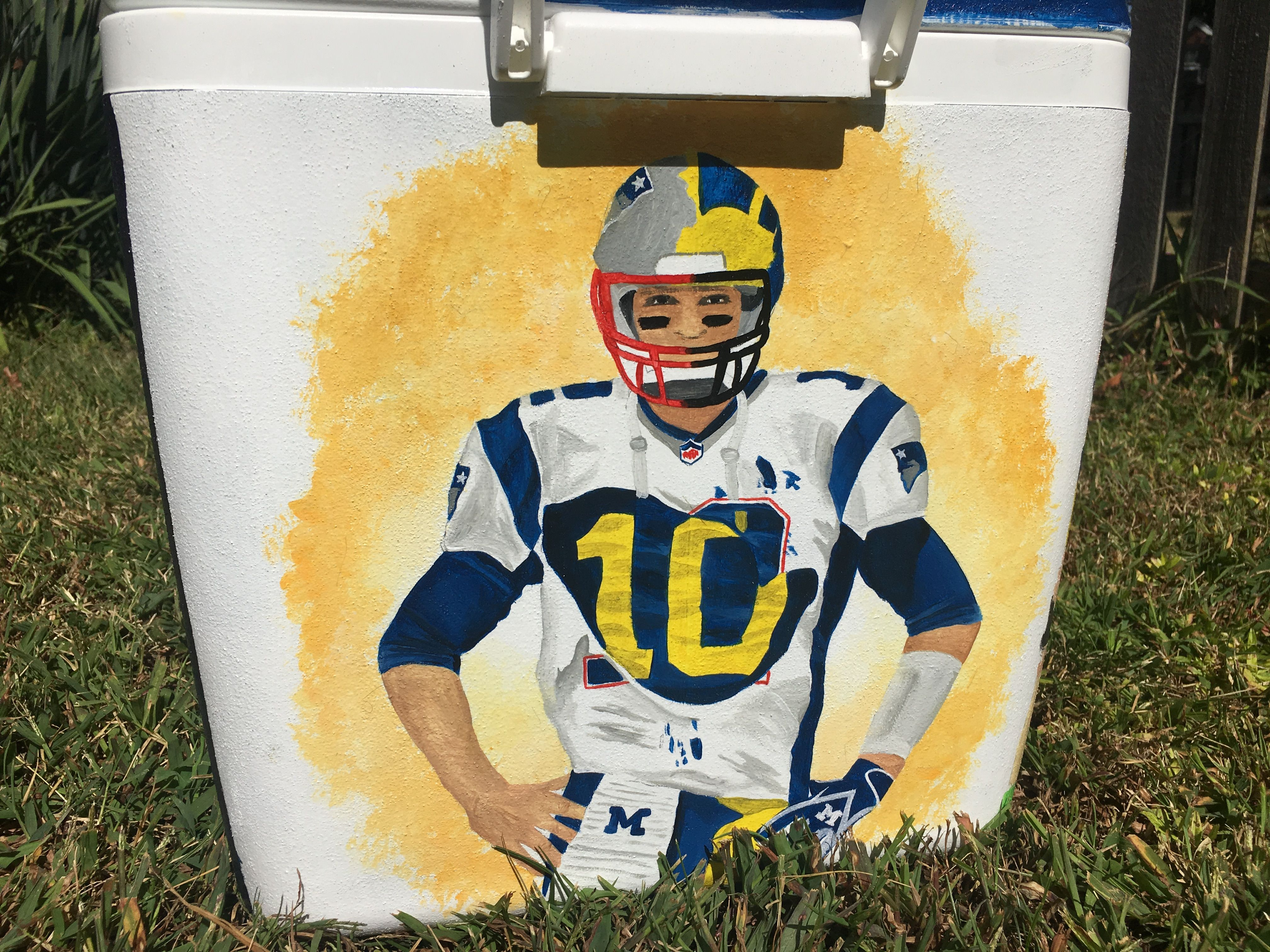 Tom Brady Michigan and patriots painted Cooler Custom