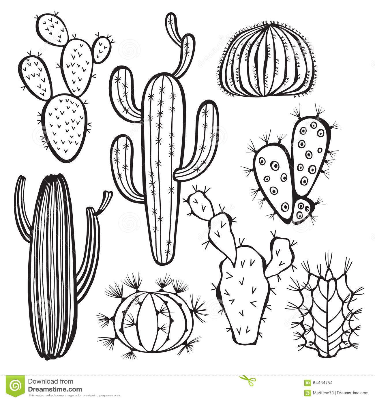 40+ Cactus Clipart Black And White Free