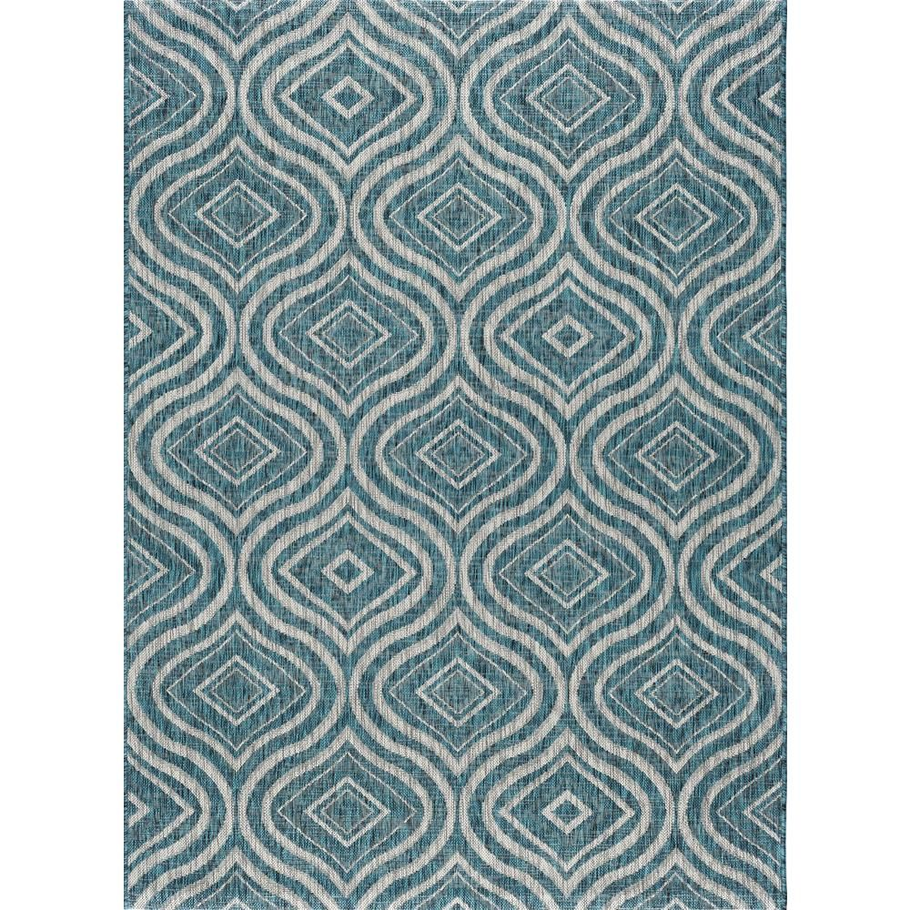 Tayse Rugs Veranda Aqua 8 Ft X 10 Ft Indoor Outdoor Area Rug